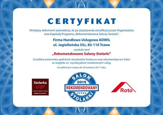 Certyfikat Rekomendowany Salon Stolarki Adwil z Tczewa